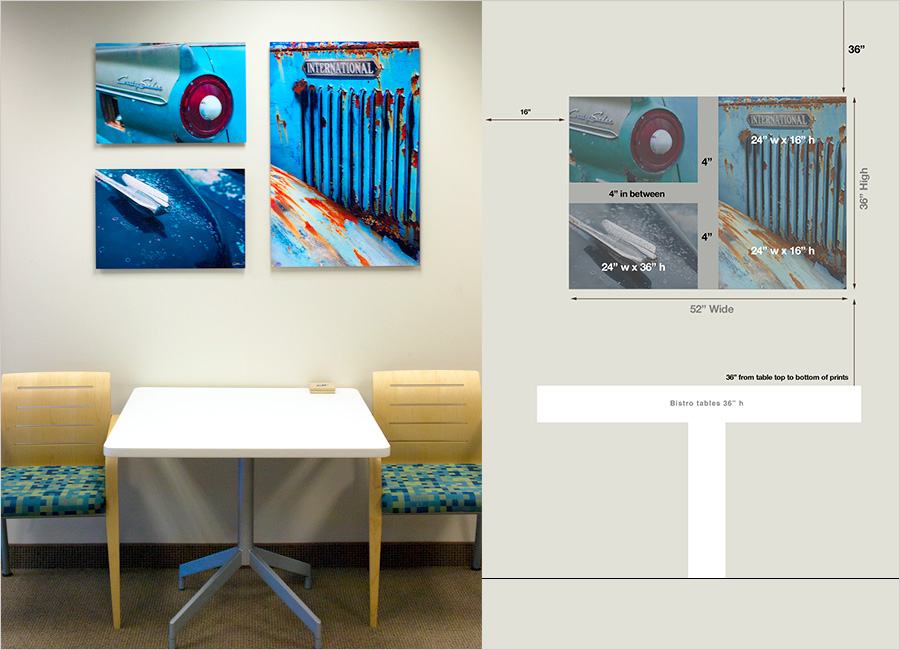 "At left Diagram for artwork, on right finished space with trio of prints on Aluminum, with float mounts (sits .5"" off wall)."