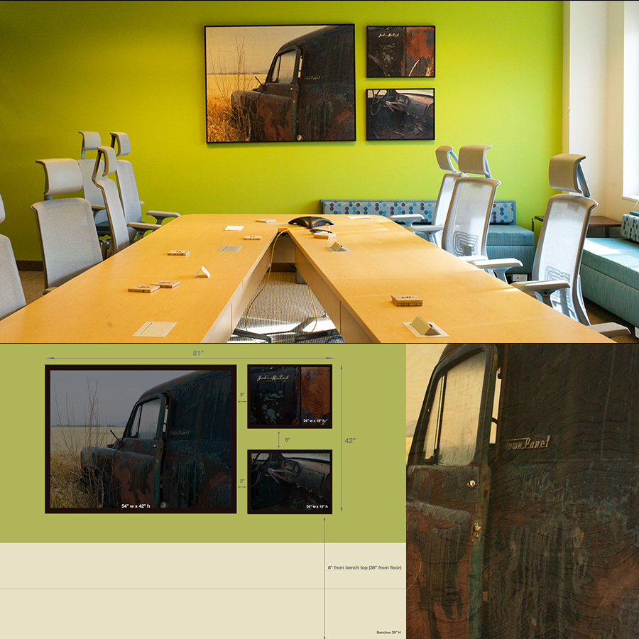 "Conference Room 103 - ""Job Rated"" a series of three prints on wood, framed (top). Bottom left, diagram of concept for room, at right closeup of wood print."